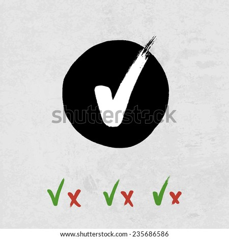 Grunge Check Marks on Paper Texture - stock vector