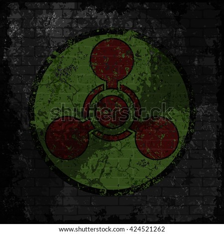 Grunge chemical weapon sign. Vector illustration of chemical weapon symbol on grungy dark grey brick wall background. Eps 10 file for a posters, wallpaper, t-shirt design and your different projects. - stock vector