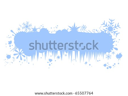 Grunge Christmas banner with snowflakes and icicles. Blank winter billboard for Your text - stock vector
