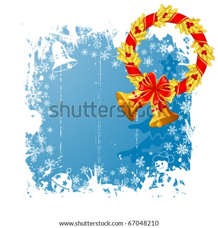 Grunge Christmas frame with wreath, snowflakes, bell, element for design, vector illustration - stock vector