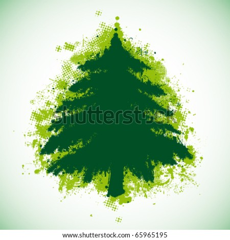 Grunge Christmas tree - stock vector