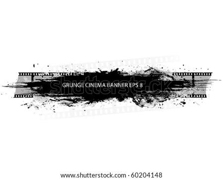 Grunge cinema banner with splash in black and white design - stock vector