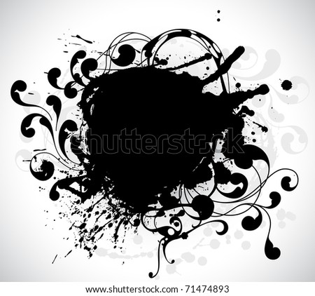 grunge circle black banner with floral elements - stock vector