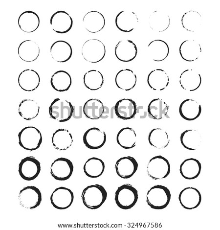 Grunge circle border set. Black ink brush stroke. Sketch handmade drawing on white background. Vector illustration eps 10. Stamp draft mockups of grunge overlay texture. For your design and business. - stock vector