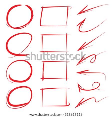 grunge circle frames, rectangle frames and arrows - stock vector