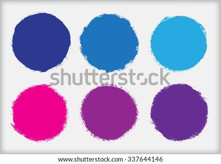 Grunge circles. Grunge round frames. Vector illustration. - stock vector