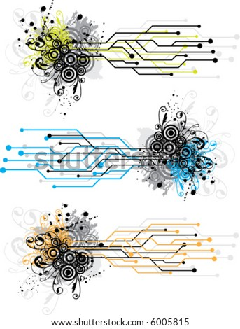 grunge circuit designs - stock vector