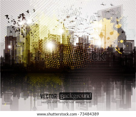 Grunge city panorama. - stock vector