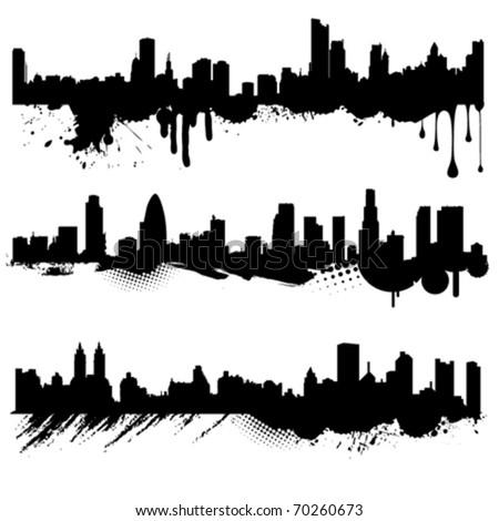 grunge city vector - stock vector