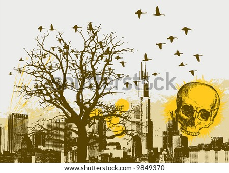 Grunge Cityscape Vector Background with Skull - stock vector