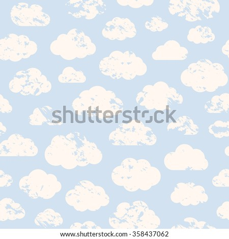 Grunge clouds pattern - stock vector
