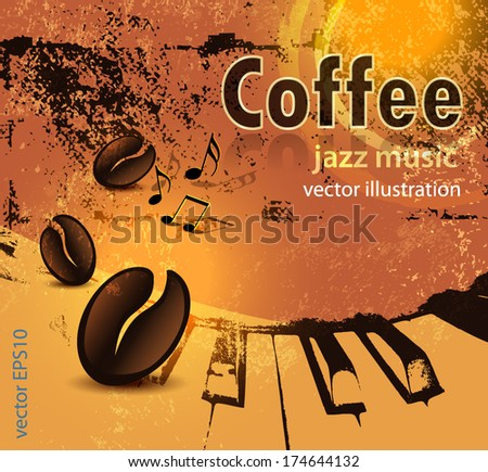 Grunge coffee and music background - stock vector