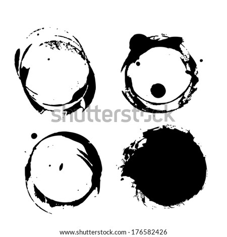 Grunge coffee splashes and blots prints  - stock vector