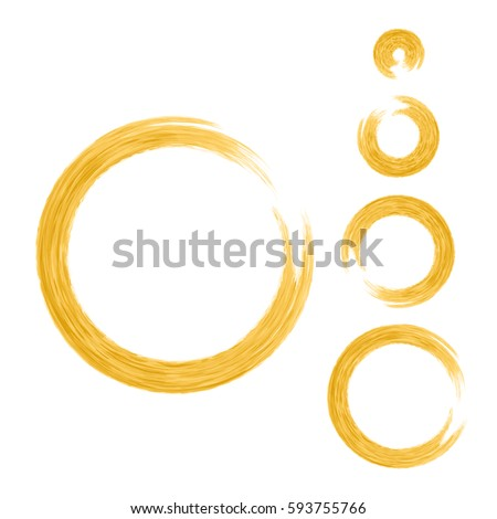 Grunge Color Circle With Brush Set Of Orange Round Brushes Collection Vector Graphics