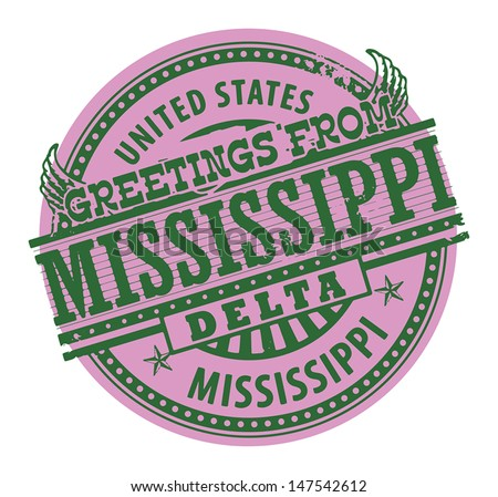 Grunge color stamp with text Greetings from Mississippi Delta, vector illustration - stock vector