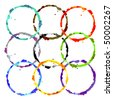 grunge colored rings - stock vector