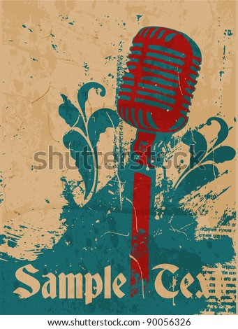 grunge concert poster with microphone - stock vector