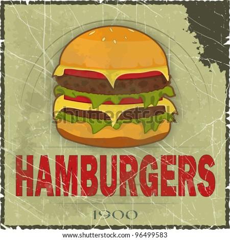 Grunge Cover for Fast Food Menu - hamburger on vintage background - vector illustration - stock vector