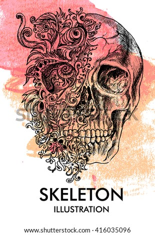 Grunge creative image with skull and vintage floral patterns. editable Vector illustration. - stock vector