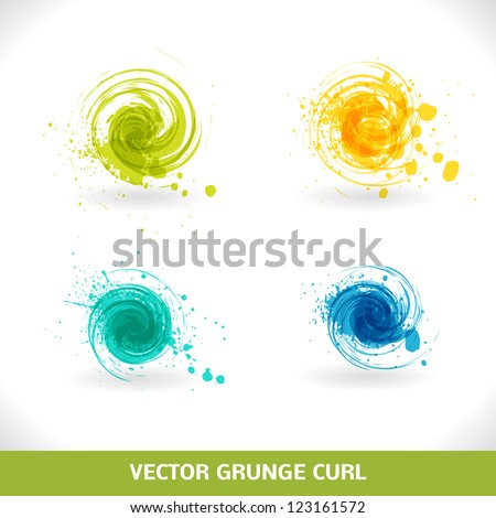 Grunge Curl. Vector Abstract Symbol. - stock vector