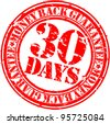Grunge 30 days money back guarantee rubber stamp, vector illustration - stock photo