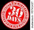Grunge 30 days money back guarantee rubber stamp, vector illustration - stock vector