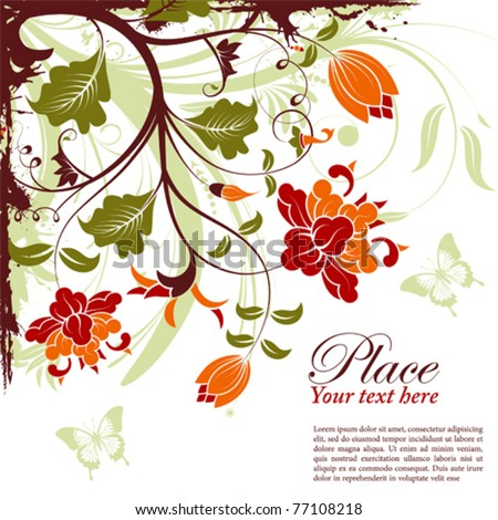 Grunge decorative floral frame with butterfly, element for design, vector illustration - stock vector