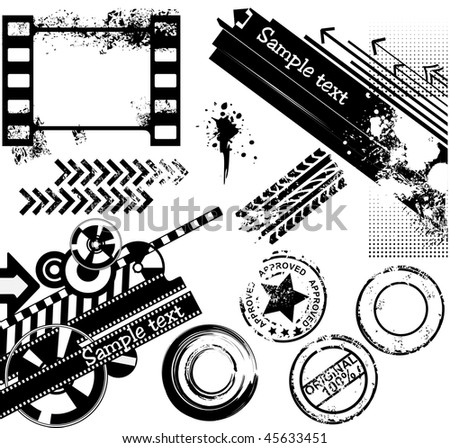 Grunge design elements: banners, film strips, rubber stamps, tyre prints - stock vector