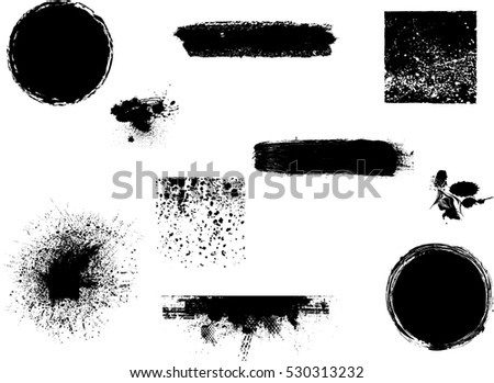 Grunge Design Elements . Brush strokes, Ink spots ,halftone dots, stains , Stamps Collection, Circles. Banners, Insignias , Spiral, Labels and Badges Set . vector distress textures.blank shapes