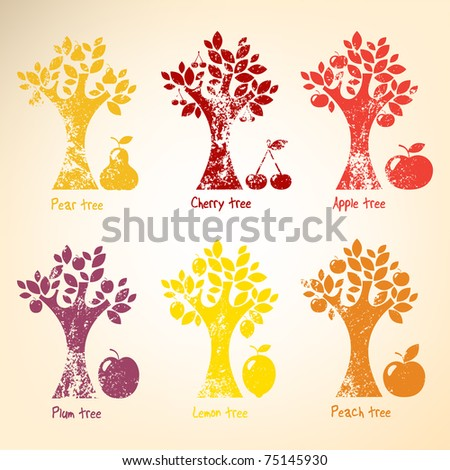 Grunge Different trees and fruits. - stock vector