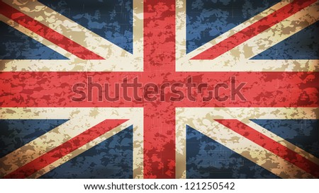 Grunge Dirty UK Flag - EPS10 Vector - stock vector
