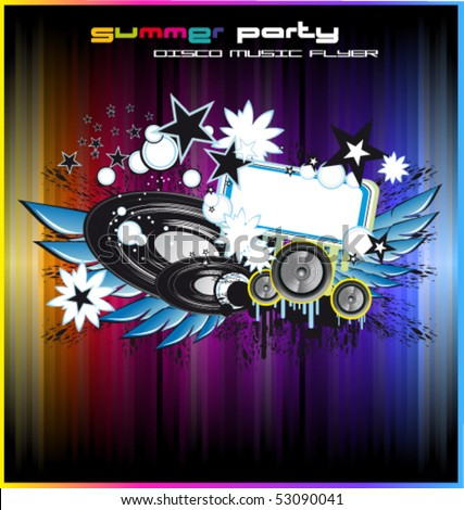 Grunge Disco Dance Colorful Background for Flyers - stock vector