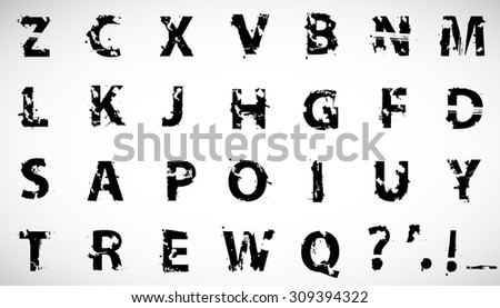 Grunge Distress Ink Splash Letters . Vector Destroy Style Hand Drawn Alphabet Font