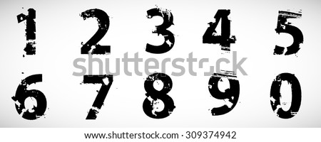Grunge Distress Ink Splash Numbers . Vector Destroy Style Hand Drawn Alphabet Font  - stock vector