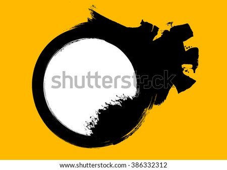 Grunge distressed black paintbrush circle on white background - stock vector