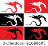 Grunge dragons on varicolored background, vector illustration, eps10 - stock vector