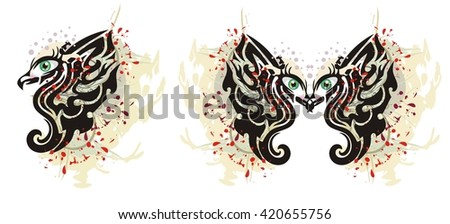 Grunge eagle with a female eye. Eagle butterfly with human eyes and an eagle with an open wing - stock vector