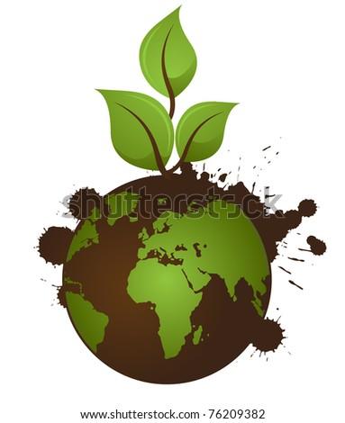 Grunge Earth Illustration - stock vector