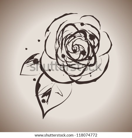 grunge elegance ink splash illustration rose stock vector 118074772 shutterstock. Black Bedroom Furniture Sets. Home Design Ideas
