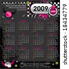 Grunge Emo Calendar for 2009. (Starts Sunday). To see similar, please VISIT MY GALLERY. - stock vector