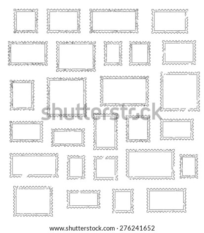Grunge empty blank postage stamps different size, icons set, isolated on white background, vector illustration. - stock vector
