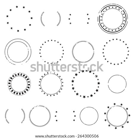 Grunge empty blank postal stamps and stars, icon set, graphic design elements, black isolated on white background, vector illustration. - stock vector