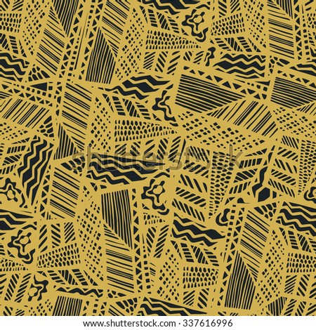 Grunge ethnic background. Brown seamless vector pattern. Ethnic vector illustration handmade. Tribal motives. Yellow, orange, brown, gold colors. Striped pattern. - stock vector