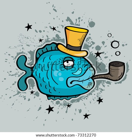 Grunge fantasy fish - stock vector