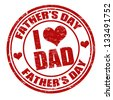 Grunge Father's day rubber stamp on white, vector illustration - stock vector