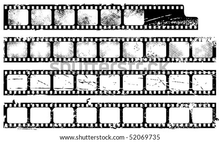 Grunge filmstrips set - stock vector