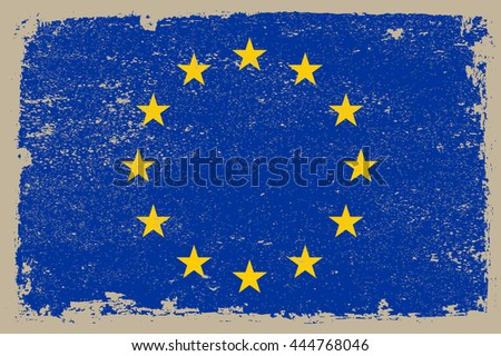 Grunge flag of European Union.Old flag of EU. - stock vector