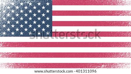 Grunge flag of USA.Vector American flag. - stock vector