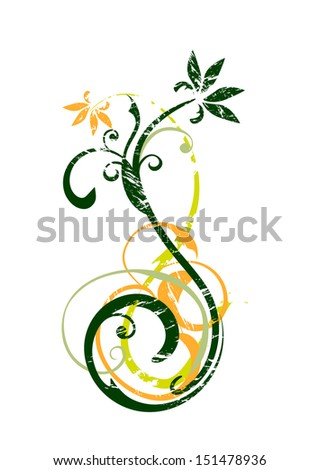 grunge floral - stock vector