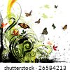 grunge floral background and butterflies - stock vector
